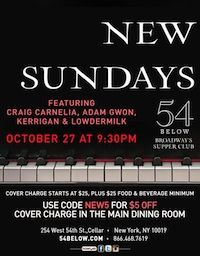 Kerrigan-Lowdermilk featured in New Sundays at 54 Below